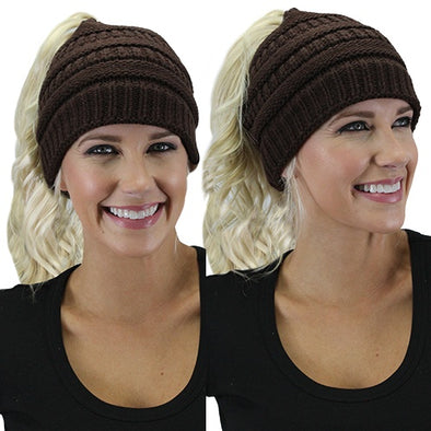 Messy Bun Beanie - Brown