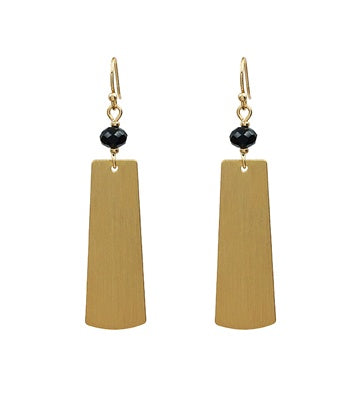 Matte Gold Black Crystal Rectangle Earrings