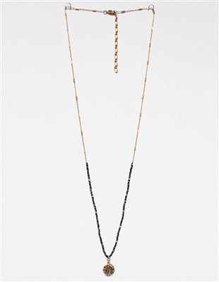 Black Crystal and Gold Coin Necklace