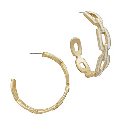 White Enamel Chain Hoop Earrings