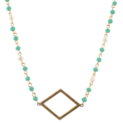 Diamond Shape Mint Beaded Necklace