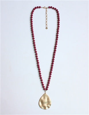 Maroon Wood Beaded Necklace