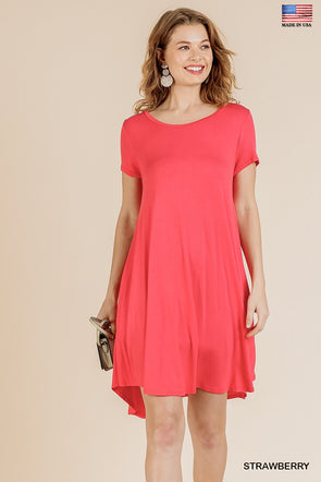 Anything Tonight Pocket Tee Dress - Strawberry