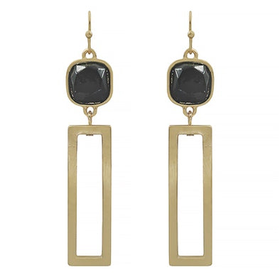 Black Natural Stone Rectangle Earrings