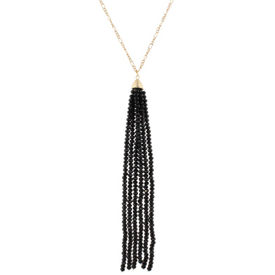 Gold Chain Black Tassel Necklace