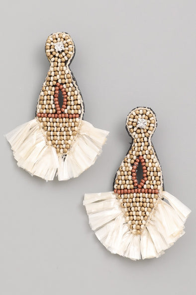 Raffia Drop Earrings - Multiple Colors