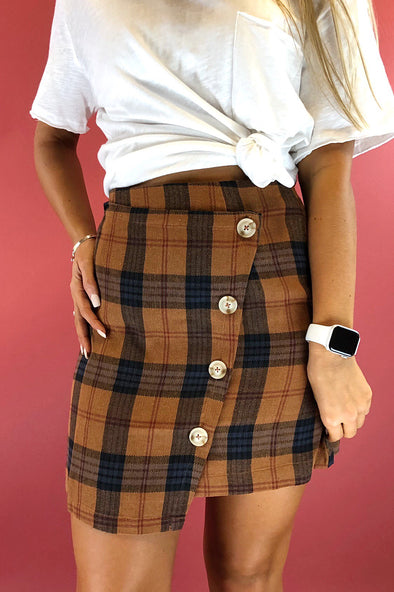 Still In the Race Plaid Skirt