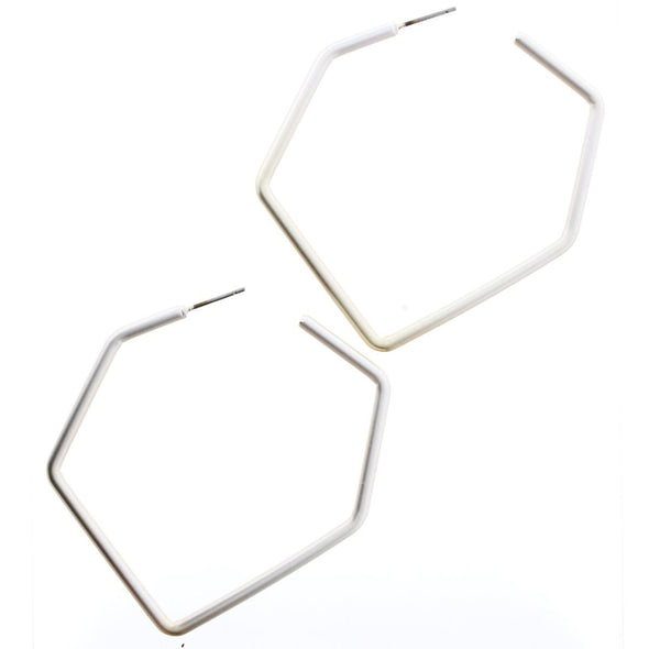 Luminous Earring Collection - Silver Irregular Hexagon