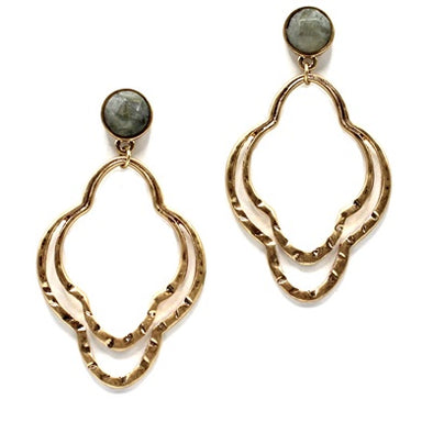 Double Filigree Natural Stone Earrings