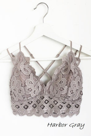 Luxe in Lace Bralette - Plus Size - Harbor Grey