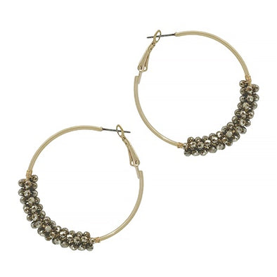 Light Mocha Crystal Wrap Hoop Earrings