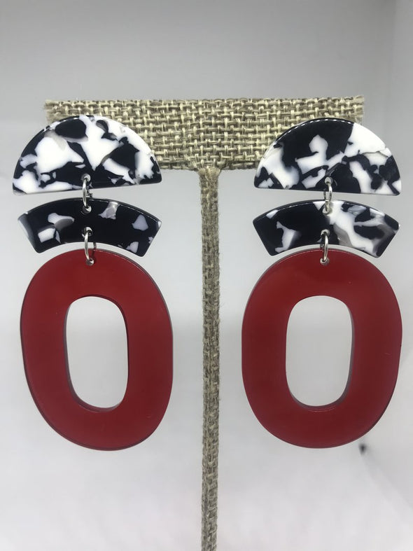 Black White and Red Circles Earrings