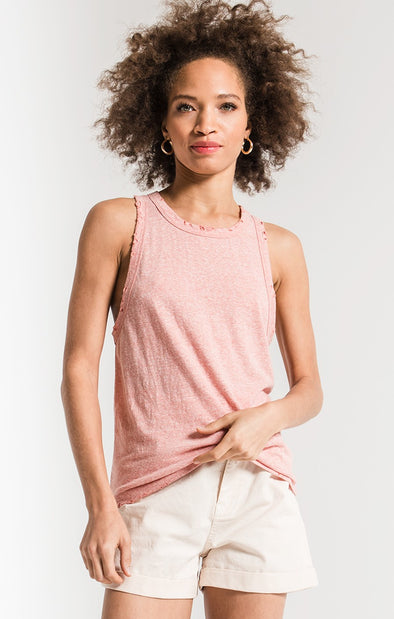The Triblend Racer Tank - Coral Haze