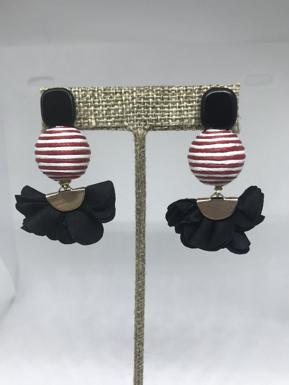 Red Stripes and Black Flower Earrings