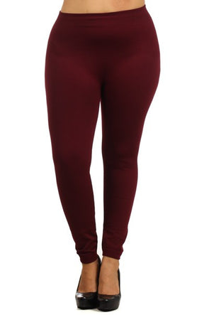 Fleece Leggings - Burgundy Plus Size