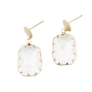 Luminous Earring Collection - Smokey Rectangle Crystal