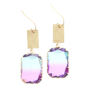 Luminous Earring Collection - Multi Colored Crystal Square