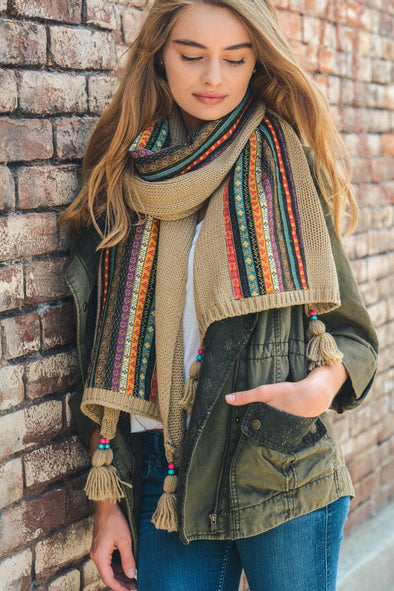 Bohemian Knit Scarf - Multiple Colors