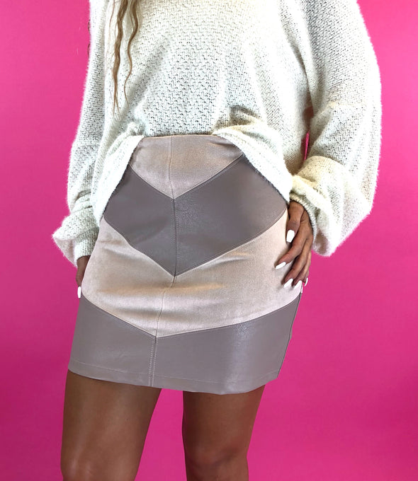 Forget Your Worries Faux Leather Skirt