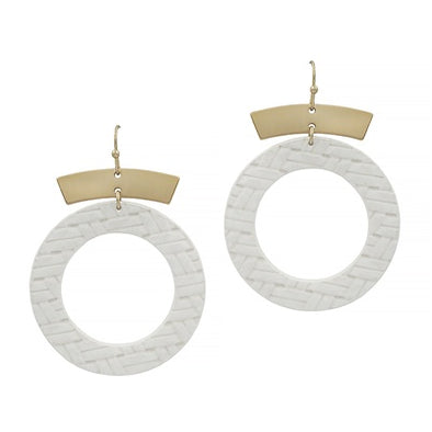 Gold and Natural Leather Circle Earrings