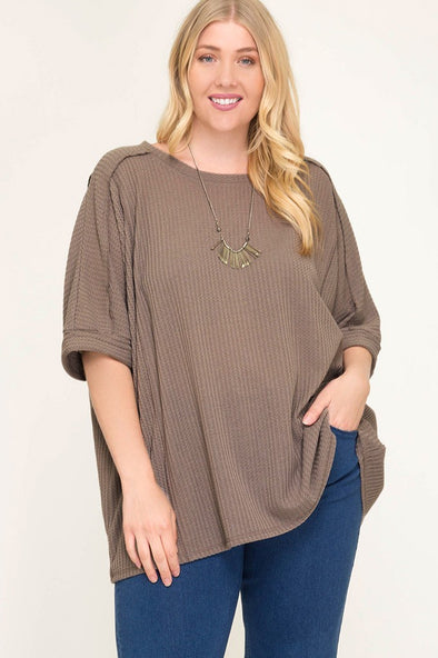 Think About You Waffle Knit - Plus Size