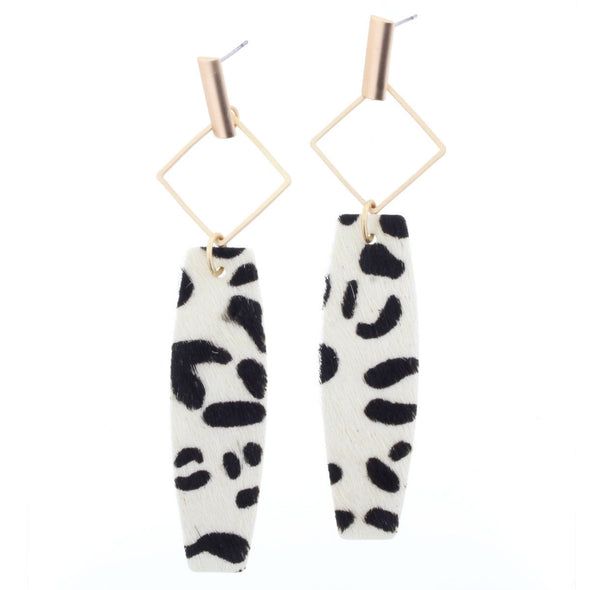 Remi Earring Collection - Hair On White Leopard Drop