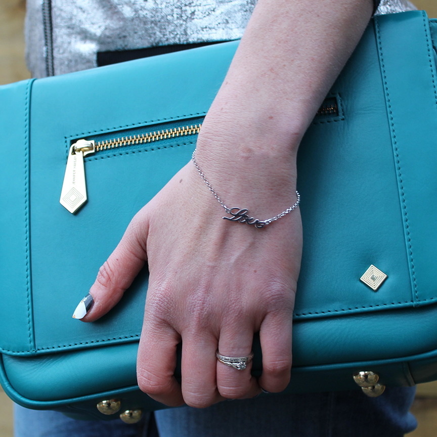 The Mini KT Cross Body Handbag by Jennifer Hamley England in Soft Teal Calfskin with interior organisation