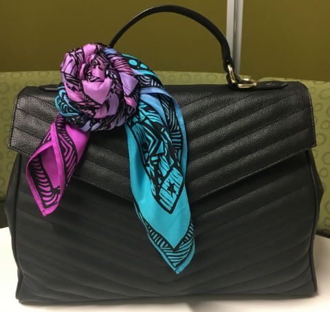 How to accessorise a handbag with a silk scarf - flower