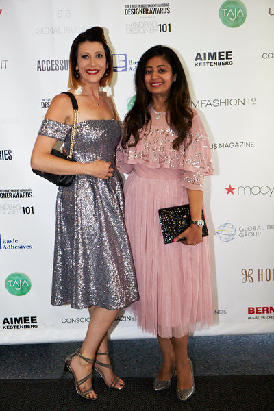 independent handbag designer awards nyc 2018 and 2015 winners Jennifer Hamley and Sugandh Agrawal of Gunas Brand