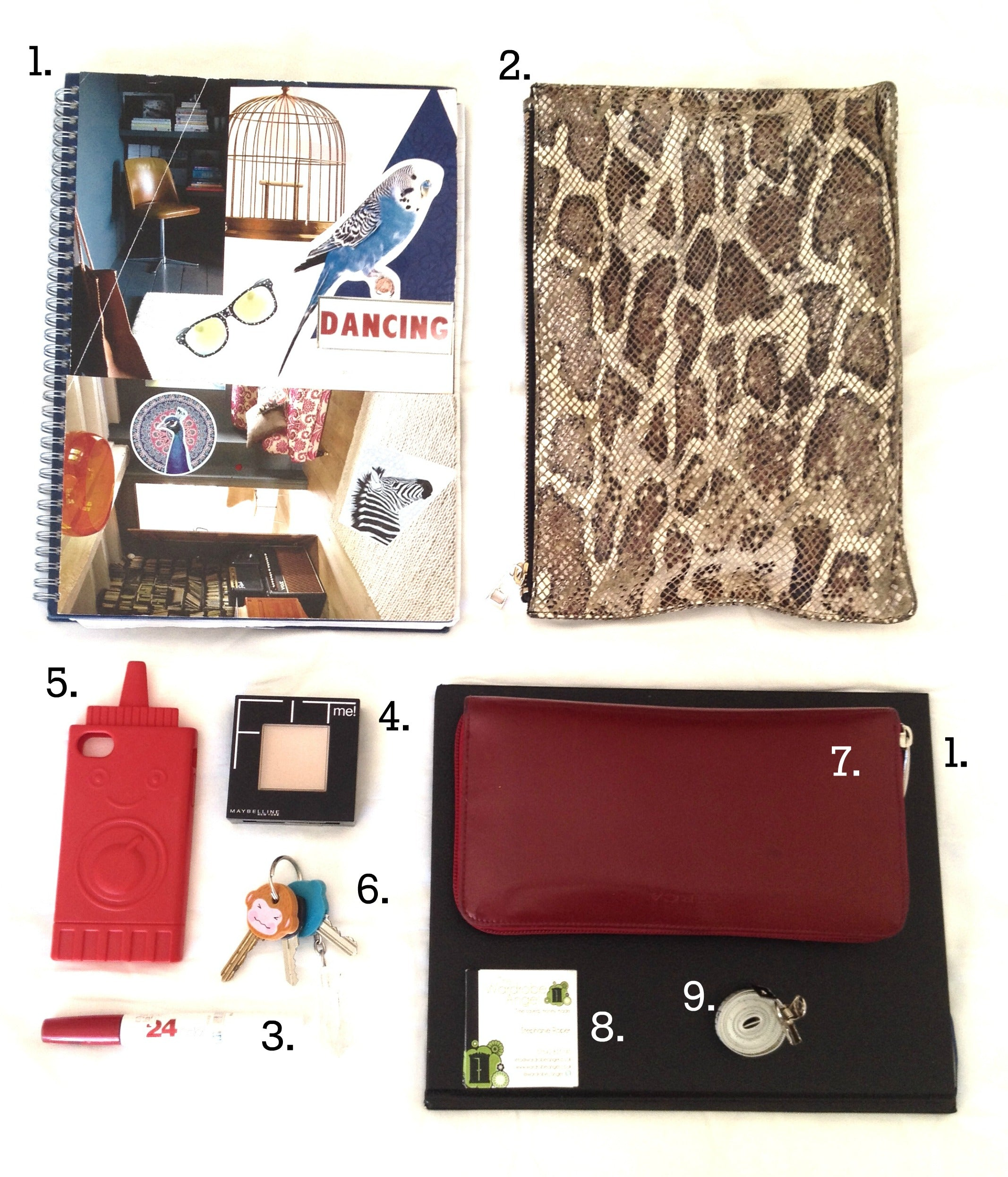The Wardrobe angel handbag contents