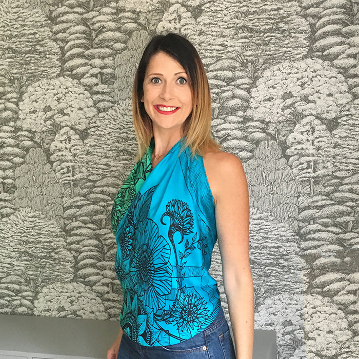 Silk scarf with flowers design worn by Jennifer Hamley