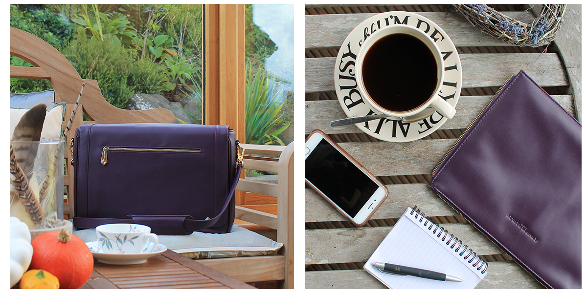 model kt aubergine workbag with detachable clutch by jennifer hamley england