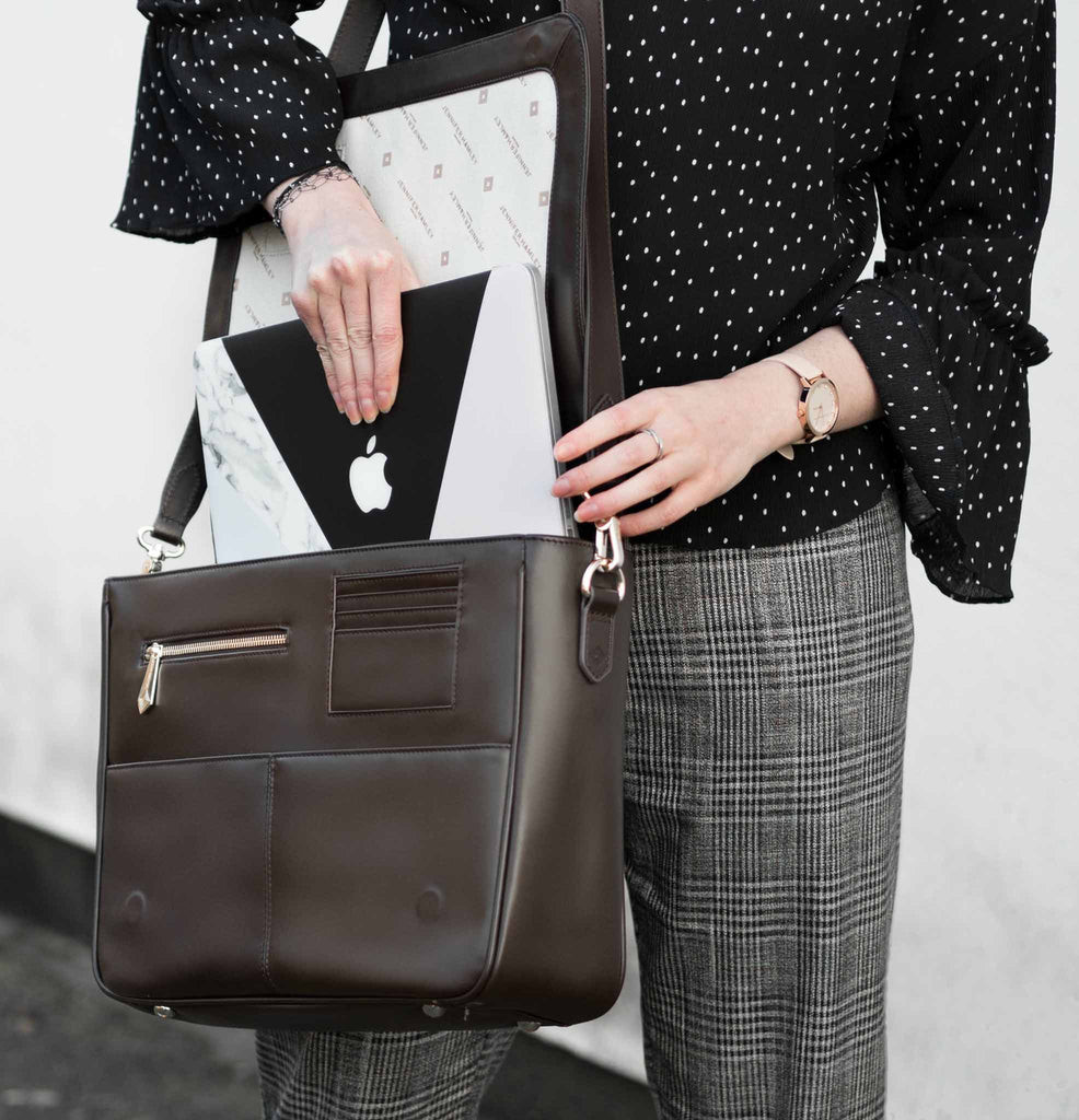 SLIGHT SECONDS - 60% off SALE - Model KT in Chocolate Leather - Jennifer Hamley luxury leather handbags and laptop bag for working women