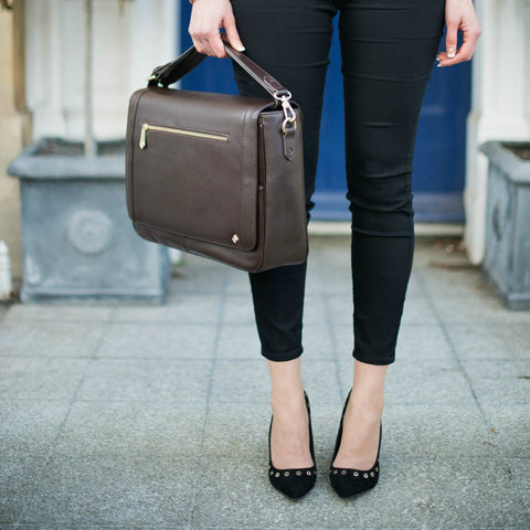 Model KT in Chocolate Leather - Jennifer Hamley luxury leather handbags and laptop bag for working women