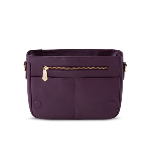 Mini KT in Aubergine Leather - Jennifer Hamley luxury leather handbags and laptop bag for working women