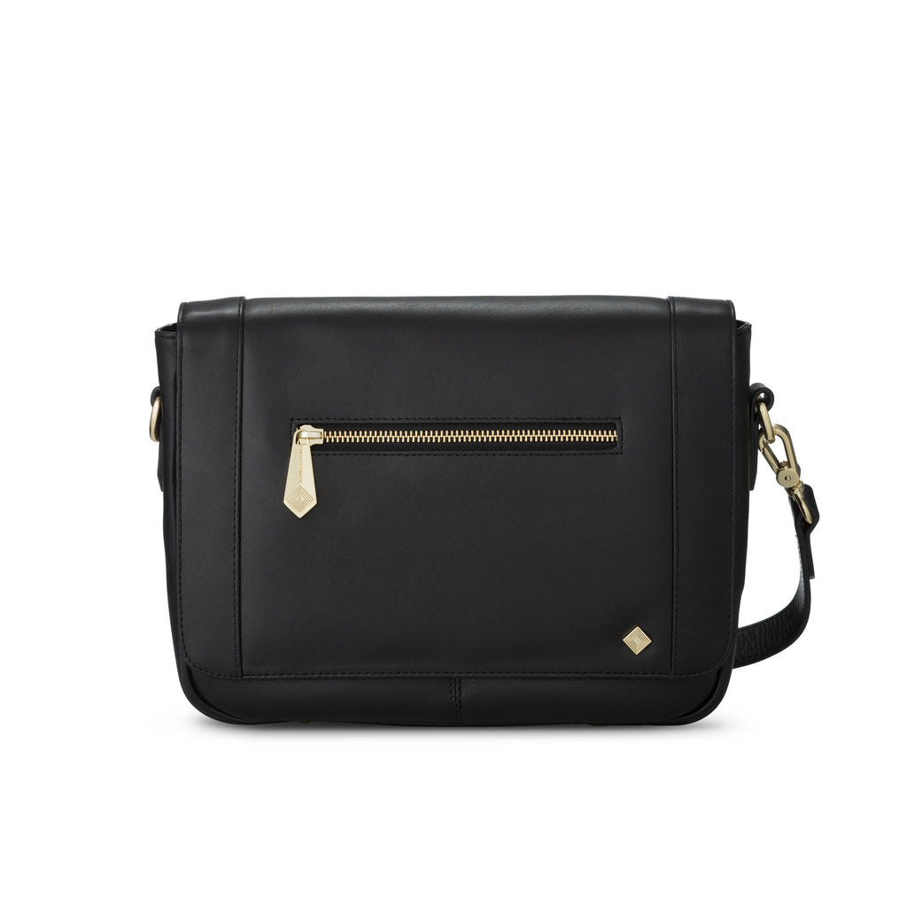 Mini KT in Black Leather - Jennifer Hamley luxury leather handbags and laptop bag for working women