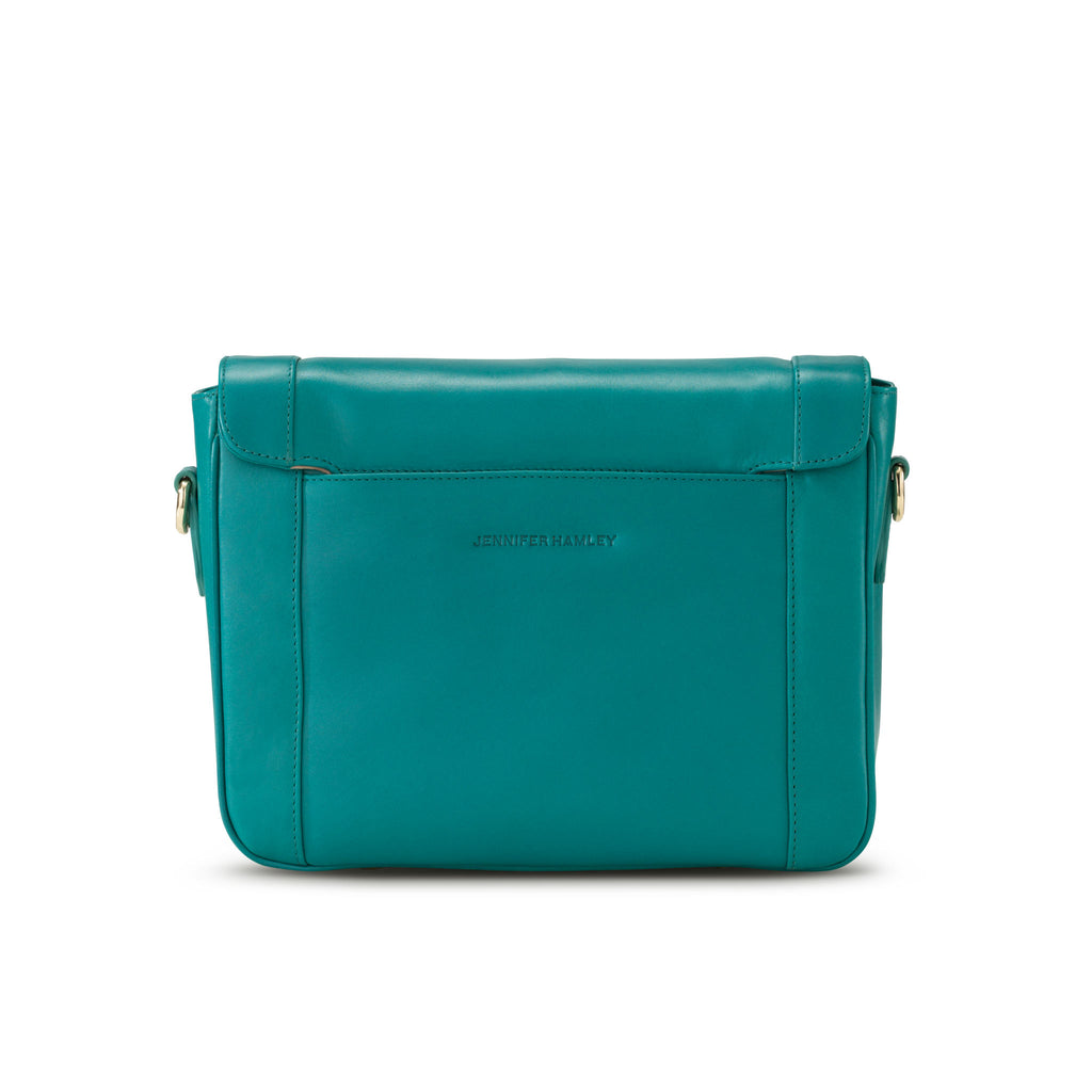 Mini KT in Teal Leather - Jennifer Hamley luxury leather handbags and laptop bag for working women