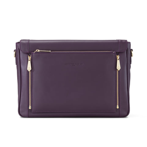 Model KT in Aubergine Leather - SALE - LAST ONE - Jennifer Hamley luxury leather handbags and laptop bag for working women