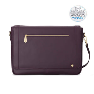 Model KT in Aubergine Leather - Jennifer Hamley luxury leather handbags and laptop bag for working women