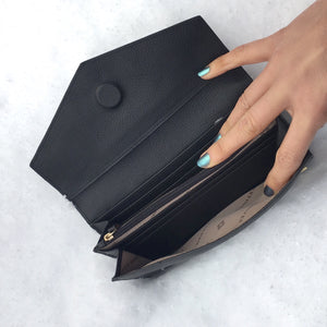 Vegan - Long Fold Wallet - Jennifer Hamley luxury leather handbags and laptop bag for working women