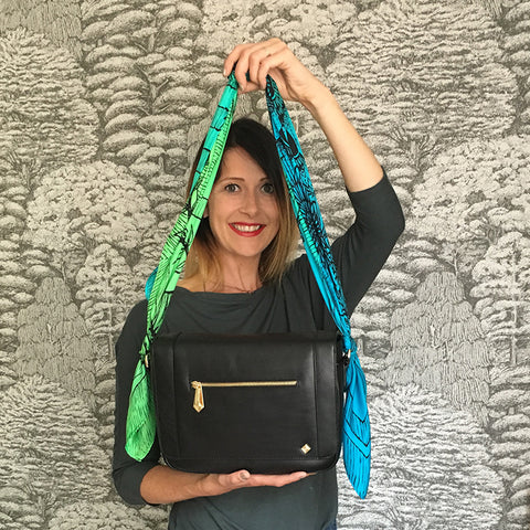 'Fantasy Land' Monochrome Silk Square Scarf - Jennifer Hamley luxury leather handbags and laptop bag for working women