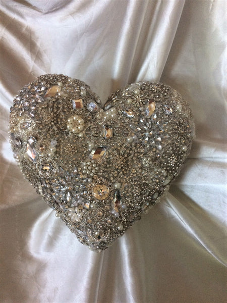 Heart Shaped Brooch Bouquet, Available in Gold or Silver, Deposit Only 150.00