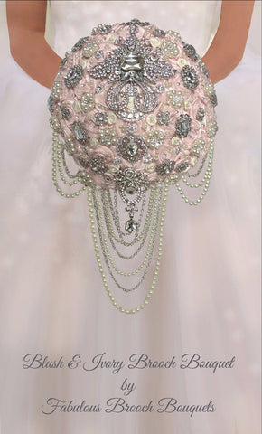 Blush & Ivory Cascading Brooch Bouquet