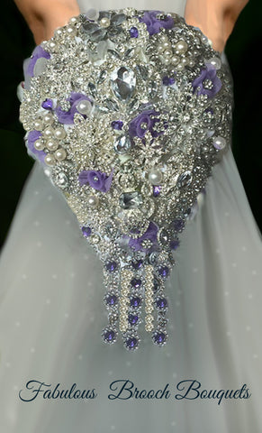 Purple Tear Drop Brooch Bouquet