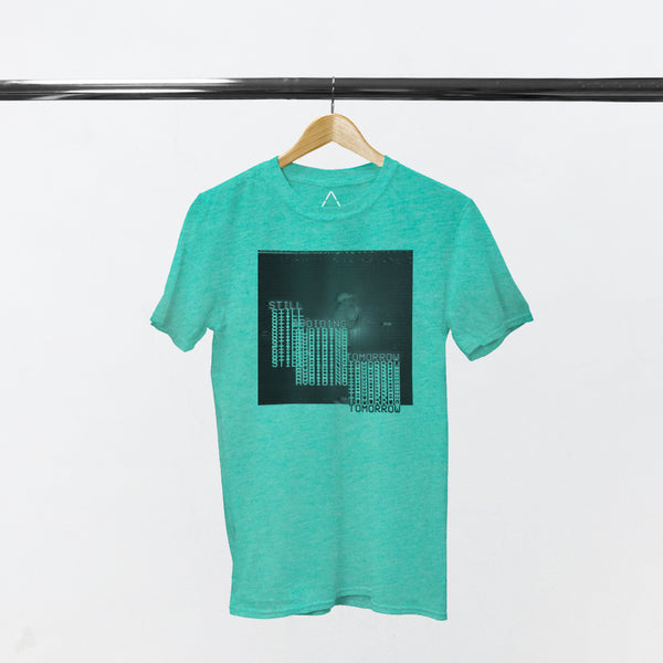 STILL AVOIDING TOMORROW SEA GREEN TEE