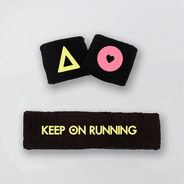 KEEP ON RUNNING BLACK SWEATBAND  AND WRISTBAND
