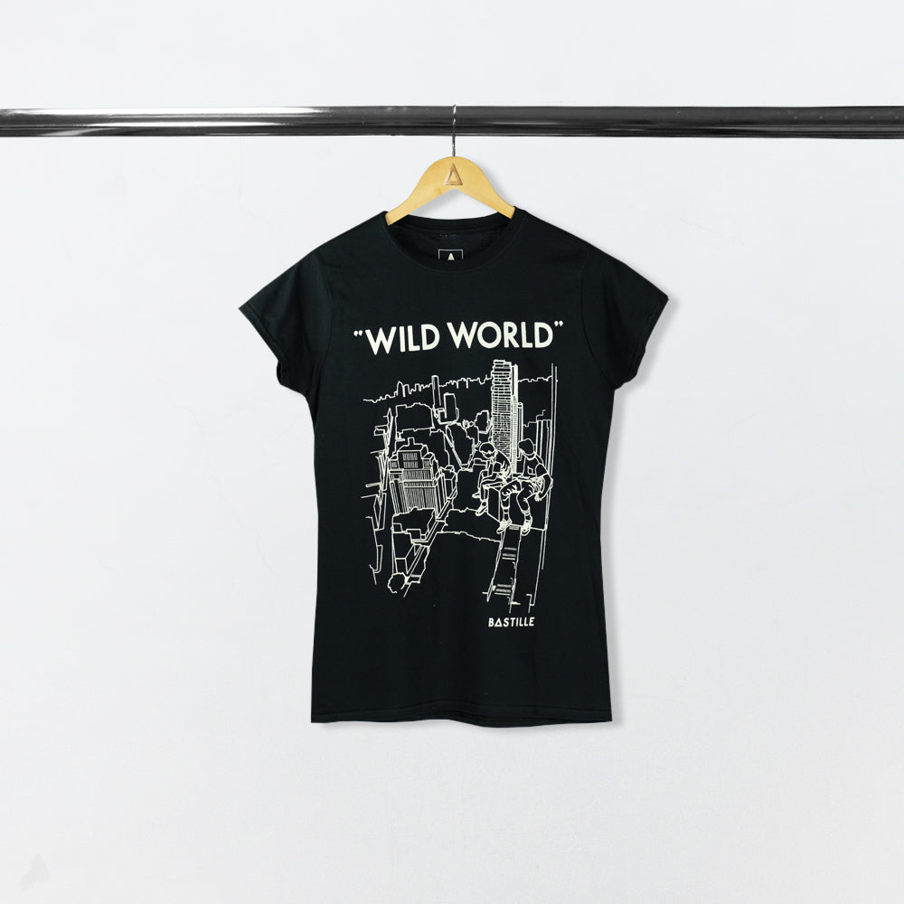 BASTILLE LADIES WILD WORLD DRAWING BLACK TEE
