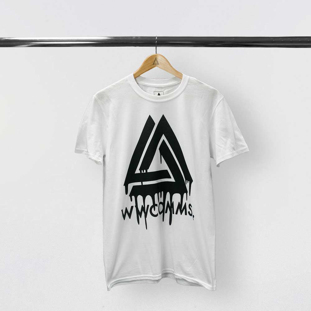 WWCOMMS DRIPPING TRIANGLE WHITE T-SHIRT