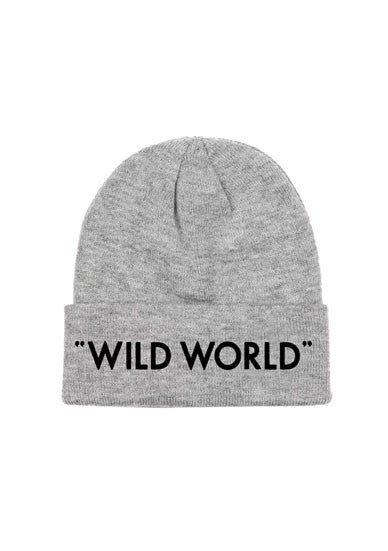 """WILD WORLD"" GREY BEANIE"