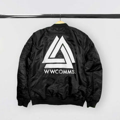 """WILD WORLD"" BLACK  BOMBER"